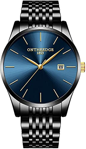 QHG Reloj de Pulsera de muñeca de Cuarzo analógico para Hombre Reloj de Pulsera analógica (Color : Blue Black)