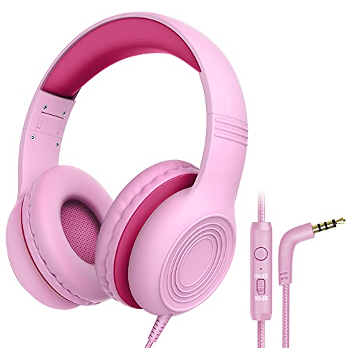 Kids Headphones with Microphone Over Ear/On Ear Wired Headphones for Kids with Volume Limit Switch 85dB/94dB and HD Sound Sharing Function for Children,Boys,Girls,Tablet,PC,School,Travel (Pink)