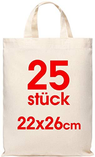 25 Stück Baumwolltasche 22x26 cm klein – Jutebeutel – Natur Apothekertasche, Tragetasche, Beutel, Geschenktasche ÖKO-TEX® zertifiziert Stofftasche unbedruckt, für Medikamente zum bemalen und bedrucken