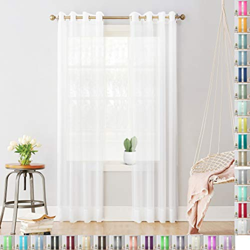 Megachest Woven semi transparent sheer Voile metallic ring top Curtain 2 Panels with ties (28 colors) (pure white, 56' wideX90 drop(W142cmXH228.5cm))