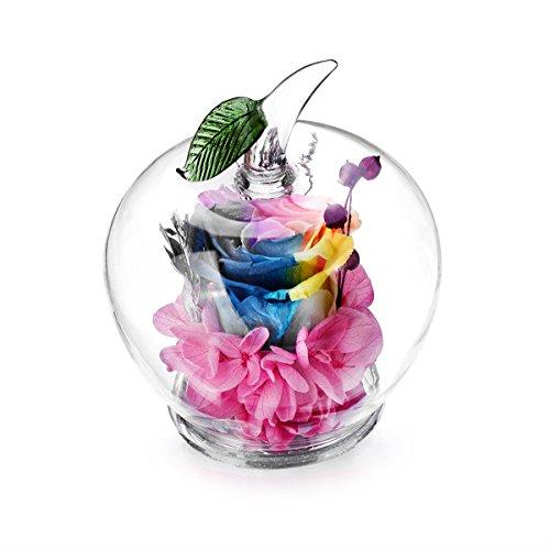 Flores conservadas hechas a mano con cristal en forma de manzana, el mejor regalo para los seres queridos, Navidad, día de San Valentín