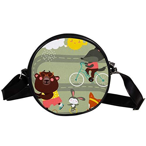 Bandolera redonda pequeña bolsa de mano de moda para señoras bolsas de hombro bolsa de lona bolsa de cintura accesorios para mujeres - divertido dibujo animado zorro oso conejo con bicicleta