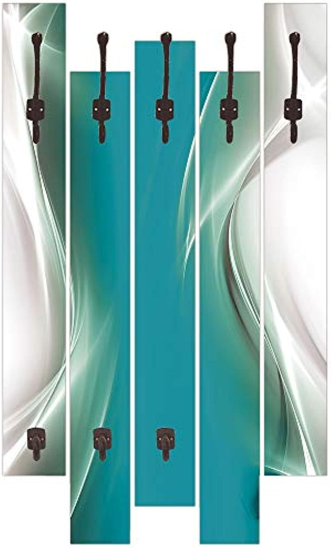 Qualittsmbel I Garderobe mit Motiv 5 Holz-Paneele mit Haken 63x114 cm Kreatives Element Petrol für Ihr Art-Design Türkis I8NE