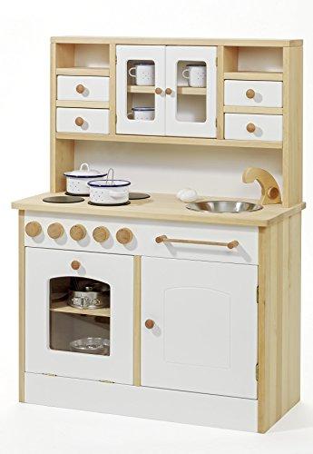 Kinder-Holz-Spielküche 2033 - Weiß - Kinderküche - Herd Spüle Backofen Schrank - 4