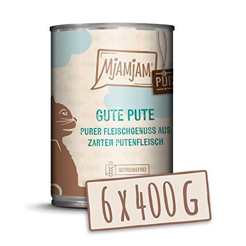 MjAMjAM - Premium Nassfutter für Katzen - purer Fleischgenuss - gute Pute pur, 6er Pack (6 x 400 g), getreidefrei mit extra viel Fleisch