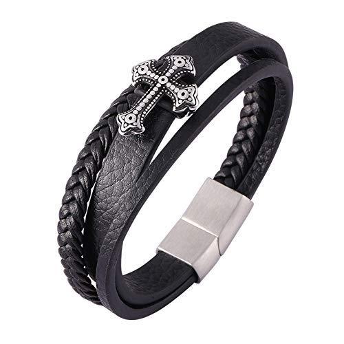 Pulseras de cuero trenzado de múltiples capas para hombre con cierre magnético de acero inoxidable, joyas para hombre/magnético..