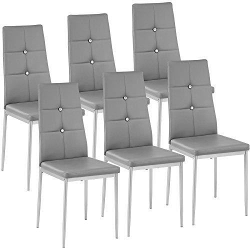 TecTake Set di sedie per Sala da Pranzo 40x42x97cm | - Disponibile in Diversi Colori e quantità – (6X Grigio | No. 402542)