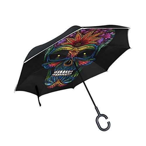 Bigjoke Doppelschichtiger umgekehrter Regenschirm, Tattoo, mexikanisches Totenkopf-Muster, Winddicht, wasserdicht, für Auto, Outdoor, Reisen, Erwachsene, Männer und Frauen
