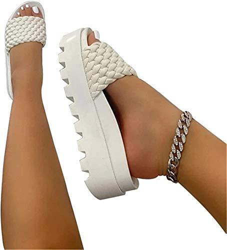 QAZW Pantofole alla Moda con Plateau Pantofole in Pelle Intrecciata con Cinturino in Pelle Estiva per Donna,White-40