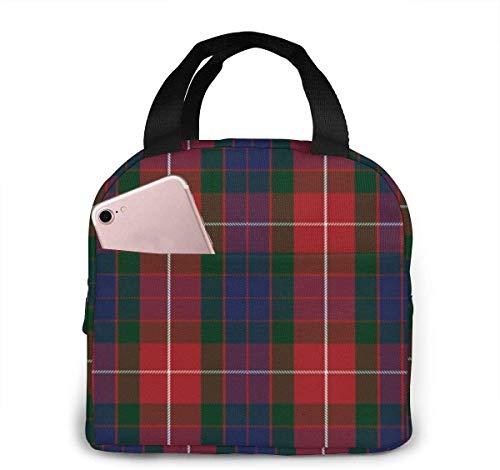 Fraser - Bolsa de almuerzo de tartán rojo para mujeres,niñas,niños,bolsa de picnic aislada,bolsa gourmet,bolsa cálida para el trabajo escolar,oficina,camping,viajes,pesca