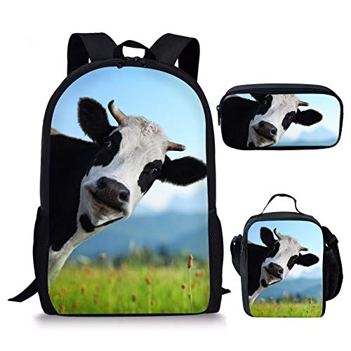 Agroupdream Three Sets of Cow Backpack Rucksack Travel Camping School Bags Set for Kids Girls Boys with Lunch Bag Pencilbag