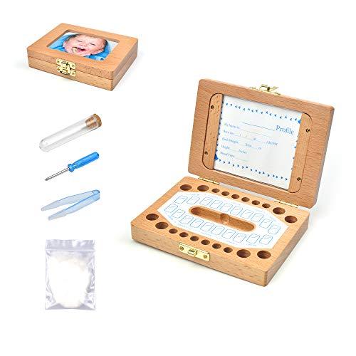 ADSSM Milchzahndose, Zahnbox aus Holz zur Aufbewahrung der Milchzähne, Zahndöschen für Kinder, inkl. Pinzette, Profile Karte, Notizpapier, Toll as Geschenk