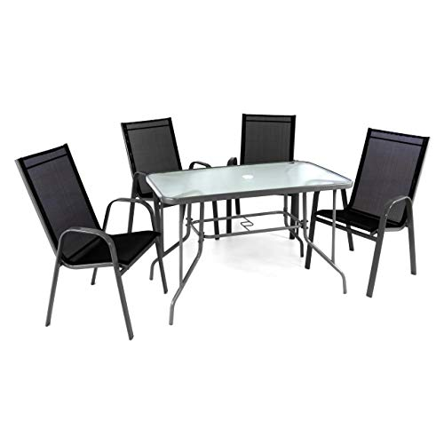 Nexos ZGC34477_SL_S2 5-teiliges Gartenmöbel-Set – Gartengarnitur Sitzgruppe Sitzgarnitur aus Stapelstühlen & Esstisch – Stahl Glas – Textilene schwarz/Rahmen grau