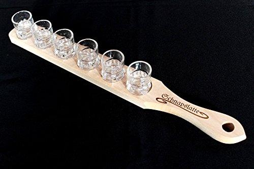 DanDiBo Schnapslatte 52 cm mit 6 Gläser Schnapsbrett Leiste Schnapsrunde mit Gravur