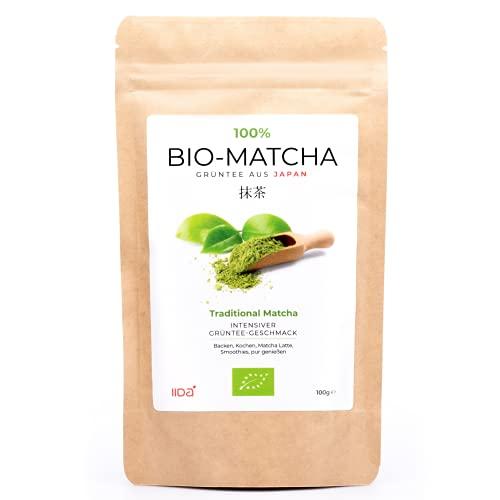 IIDA® Bio Matcha Pulver aus Japan - 100g Matcha Tee im wiederverschließbaren Beutel - Ideal für Matcha Latte, Smoothies, Müsli, sowie zum Backen und Kochen