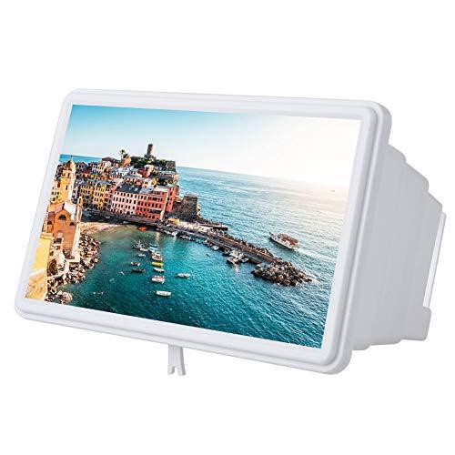 VBESTLIFE 12 Zoll Handy 3D Bildschirmlupe Smartphone Vergrößerungsglas, Vergrößerer Bildschirm, Lupe 3D Film Video Bildschirm Verstärker Schützen Augen mit Reinigungstuch für iPhone(Weiß)
