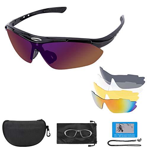 Fahrradbrille Sportbrille Sonnenbrille UV400 Schutz mit 5 Wechselgläser inkl Schwarze Polarisierte Linse,Damen Herren Radbrille Rennrad Brille für Outdoor Sport Laufen Klettern Autofahren (Grau)