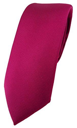 TigerTie schmale Designer Krawatte in beere feinrips uni einfarbig