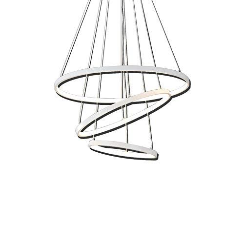 Moderne LED Pendelleuchten, Metall Kronleuchter Höhenverstellbar 3 Ringe (30+45+60cm) Hängelampen, Dimmbar Kronleuchter für Schlafzimmer Esszimmer Restaurant Lampen (WODA Shang Mao) (Weiß)