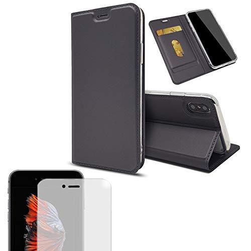 Eximmobile - Handytasche kompatibel mit Sony Xperia XA2 Plus + Hülle Kartenfach Handyhülle Slim Brieftasche Schutzhülle Klapphülle Book Hülle Full Cover Etui Magnet Bookstyle Flipcase grau Geldfach