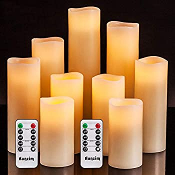 Flameless Flickering Battery Operated Candles 4  5  6  7  8  9  Set of 9 Ivory Real Wax Pillar LED Candles with 10-Key Remote and Cycling 24 Hours Timer  Ivory 9 Pack