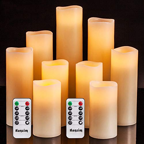 """Flameless Flickering Battery Operated Candles 4"""" 5"""" 6"""" 7"""" 8"""" 9"""" Set of 9 Ivory Real Wax Pillar LED Candles with 10-Key Remote and Cycling 24 Hours Timer (Ivory 9 Pack)"""