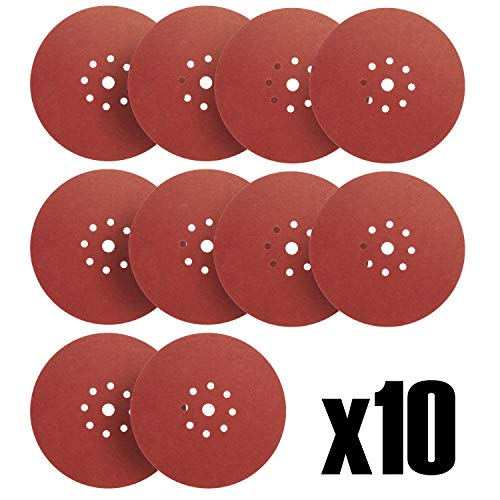 S&R 10 Discos de Lija en Papel Abrasivo con Velcro Ø 225 mm/Grano 240 para Lijadora jirafa