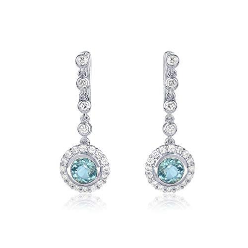 Ohrringe Gold 750 mit Diamanten Damen Ohrtsecker Solitär aus Weißgold 18 Karat hängend Blau Topas (1,64 Karat) + Zertifikat