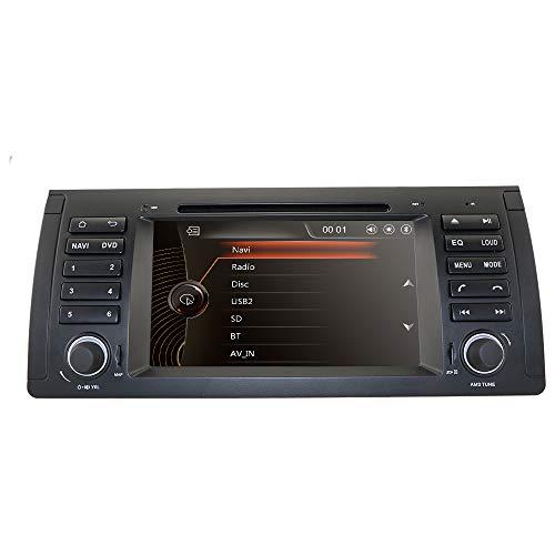 Radio de 7 pulgadas, 1 DIN, reproductor de DVD para BMW Serie 5 E39/BMW X5 E53/BMW M5/BMW 7 Series E38, compatible con radio, RDS espejo, control de volante, Bluetooth, dab +, cámara trasera subwoofe