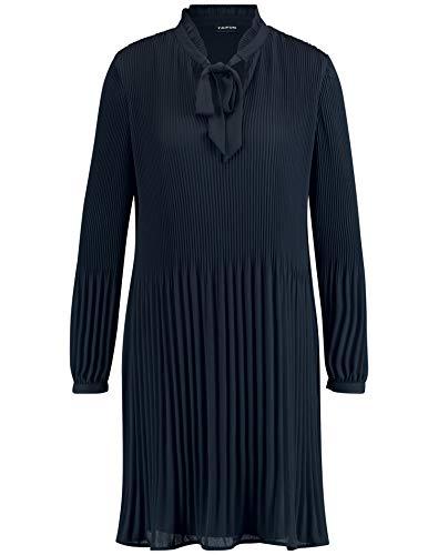 Taifun Damen Plisséekleid mit Schleifenkragen leicht ausgestellt Navy 40