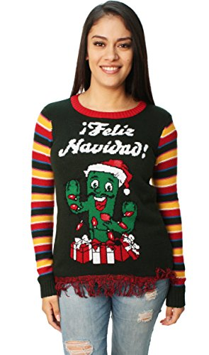 Ugly Christmas Sweater Company Junior's Light-Up Feliz Navidad Cactus Pullover Fringe, Evergreen, XS