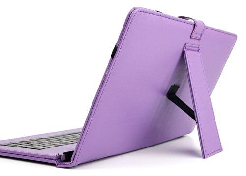 "DURAGADGET Funda/Teclado ESPAÑOL Morado 10.1"" para BEISTA Tablet de 10.1 Pulgadas - Conexión MicroUSB + Lápiz Stylus"