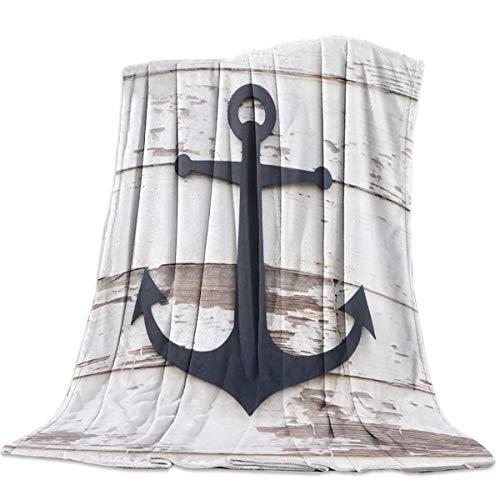 Mantas Para Manta Blanket Tema retro del océano de grano de madera blanca Mantas 125X100CM