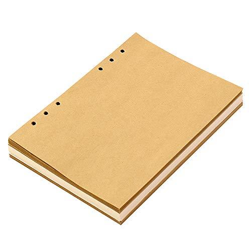 XIUJUAN Notizbuch A5 Weiße und Gelbe Leere Nachfüllseiten, Gut für Zeichnen und Skizzieren, 21 x 14,8 cm, 100 GSM, 120 Blatt, MEHRWEG