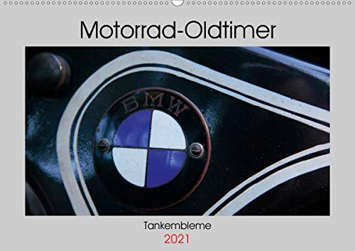 Motorrad Oldtimer - Tankembleme (Wandkalender 2021 DIN A2 quer)