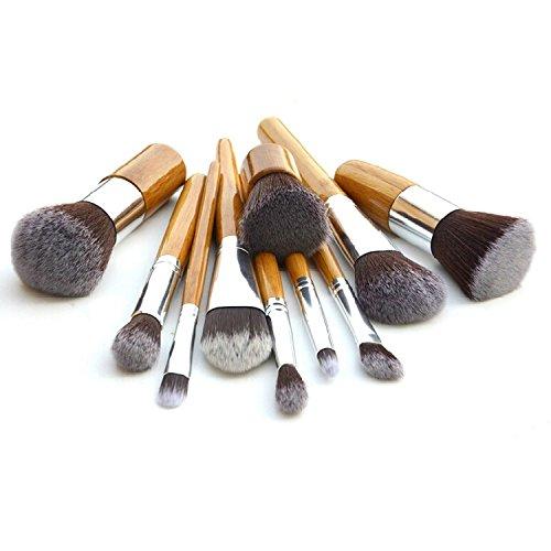 XUAN 11 maquillage pinceau bambou vert poignée set Fondation brosse cosmétiques rond casquettes avec brosse à tête plate