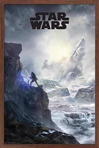"""Trends International Star Wars: Jedi Fallen Order - Cliffside Key Art Wall Poster, 22.375"""" x 34"""", Mahogany Framed Version"""