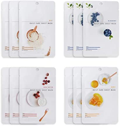 [Pack of 12] EUNYUL Daily Care Facial Sheet Mask Pack (4types x 3pcs) Rice & Blueberry & Shea Butter & Honey for Moisturizing Korean Skincare