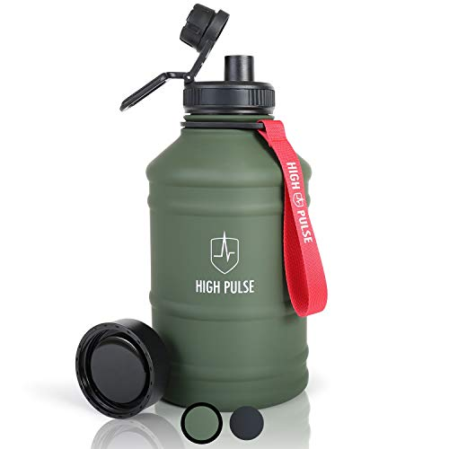 High Pulse Botella de Agua XXL de acero inoxidable con accesorio para beber + tapa (2,2 l) - botella a prueba de fugas para...