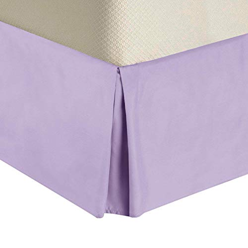 Royal Tradition Solid Microfiber Full Size Pleated Tailored, 14-Inch Drop, Split Corners Bed Skirt, Lilac