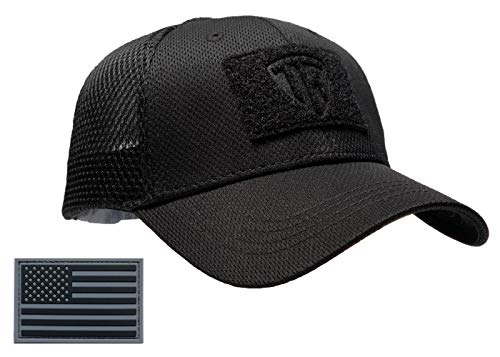 Terra Kuda Tactical Operator Cap -Flex Mesh Snapback Hat- Low Profile (Black)