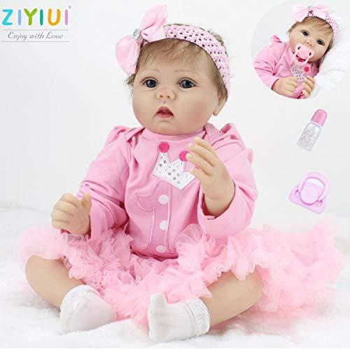 ZIYIUI Bambole Reborn Femmine 22 Pollici 55cm in Silicone Morbido Bambole Reborn Realistiche Neonati Simulazione Magnetica Bocca Ragazza del Ragazzo Bambini Giocattolo