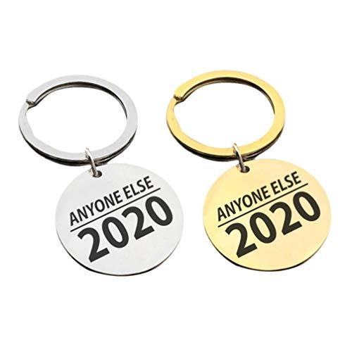 Amosfun 2PCS Stainless Steel Keychain Anyone Else 2020 Keyring Pendant Charm President Key Holder Hanging Ornament