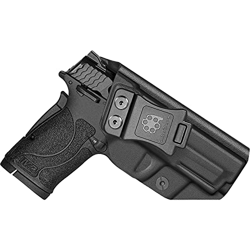 Amberide IWB KYDEX Holster Fit: S&W M&P 380 Shield EZ Pistol | Inside Waistband | Adjustable Cant | US KYDEX Made (Black, Right Hand Draw (IWB))