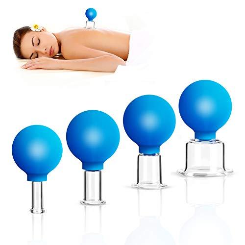 Schröpfgläser mit Saugball aus Echtglas, 4er Schröpfglas Set mit Ball Hochwertige medizinische Schröpfen. Anti-Cellulite-Becher Schröpfglas gegen Verspannungen und Cellulite