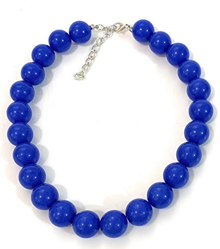 Caprilite Halskette mit Kunstperlen, 18 mm, groß, groß, Königsblau