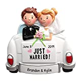 Personalized Just Married Car Christmas Tree Ornament 2020 - Happy Bride Groom at The Back Vehicle Glitter Ceremony Newlyweds Romantic Love Wedding Gift Brunette Blonde Year - Free Customization