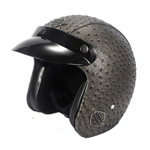 Casco de Moto Halley Retro Prince 3/4, Casco de Moto de Cuero para Adulto con Visera, Cascos de Seguridad de Motocross 24 Colores 53-61cm