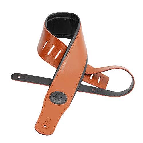 BluesBay Premium Leather Guitar Strap-Dual Padded-3.3''Wide Acoustic, Electric,Bass Guitar Strap-Adjustable Length 60''-Black/Brown-Bundle W/Free 3 Guitar Picks+Key Chain Guitar Pick Holder (Brown)