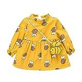 Oliviavane Baby Mädchen Kleidung Set Mädchen Rock Kinder Kleider Mädchen Langarm Plüsch Verdicken Druck Prinzessin Kleid + Tasche Outfits Sets 0-24 Monat